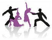 foto of ballroom dancing  - Detailed silhouettes of couple dancing ballroom dance - JPG