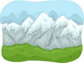 picture of mountain-range  - Scenic Illustration of a Mountain Range Covered with Snow - JPG