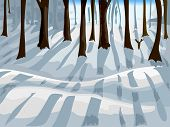 stock photo of snow forest  - Cropped Illustration of a Forest Covered with Snow - JPG