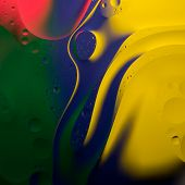 picture of drop oil  - Abstract color round oil drops on water surface - JPG