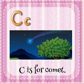picture of comet  - Flashcard letter C is for comet - JPG