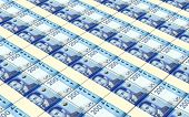 stock photo of dirhams  - Moroccan dirhams bills stacks background - JPG
