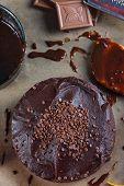 pic of tort  - homemade chocolate torte cake on baking paper - JPG