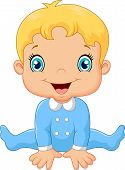 picture of pajamas  - Vector illustration of Cartoon baby boy wearing blue pajama - JPG