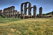 stock photo of aqueduct  - Roman Aqueduct of Merida Los Milagros from west side - JPG