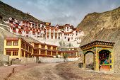 picture of jammu kashmir  - Rizong monastery with view of Himalayan mountians  - JPG