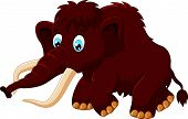 picture of mammoth  - Vector illustration of Cute mammoth cartoon isolated on white background - JPG