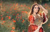 picture of fancy-dress  - Portrait of a happy beautiful queen in red royal dress in a flower field - JPG