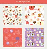 stock photo of ice-cake  - Vector food pattern with dessert icons in circles - JPG