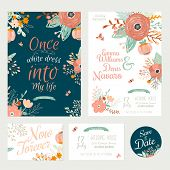 pic of marriage decoration  - Vintage romantic floral Save the Date invitation in bright colors in vector - JPG