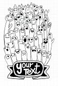foto of monster symbol  - Vector illustration of Monsters and cute alien friendly cool cute hand - JPG