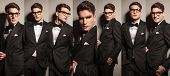 picture of tuxedo  - Collage of a young elegant business man wearing a tuxedo and glasses - JPG
