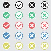 stock photo of confirmation  - Vector Set of Flat Design Check Marks Icons - JPG