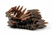stock photo of ak47  - chain of ammunition isolated on white background - JPG