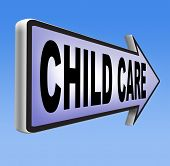 pic of babysitting  - child care in daycare parenting or babysitting protection against child abuse 