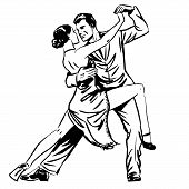 Постер, плакат: Man And Woman Dancing Couple Tango Retro Line Art