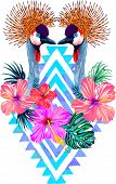 stock photo of zigzag  - vector detailed illustration of crowned cranes with tropical flowers and tribal background - JPG