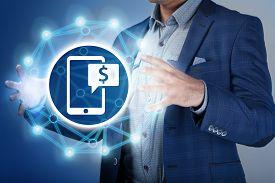 pic of money  - Businessman make money and save money on virtual screens - JPG