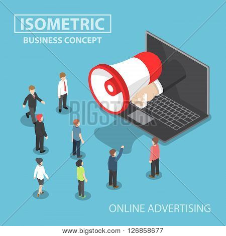 Isometric Businessman Hand With Loudspeaker Sticking Out From Laptop