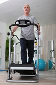 stock photo of cardio exercise  - Senior man doing sports - JPG