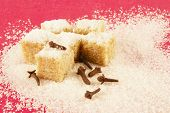 Blocks Of Sugar And Spiciness On A Red Background poster