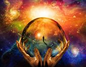 picture of seer  - High Resolution 3D Illustration Hands hold glass sphere with view of man - JPG