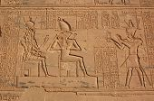 stock photo of isis  - A large carving on the wall of the Temple of Isis at Philae - JPG