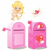 A Mailbox For Love Letters And Cupid. Vector. poster