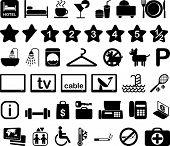 Постер, плакат: Отель функций и услуг icon set черно белые иллюстрации