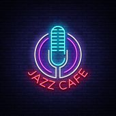 Jazz Cafe Is A Neon Sign. Symbol, Neon-style Logo, Bright Night Banner, Luminous Advertising On Jazz poster