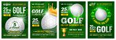 Set Of Golf Posters With Golf Ball. Golf Tournament Advertising. Sport Event Announcement. Place You poster