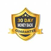 Golden Shield Money Back In 30 Days Guarantee Label With Ribbon Isolated Vector Illustration poster