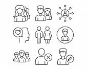 Set Of Teamwork, Restroom And Group Icons. Women Headhunting, Delete User And Person Signs. Networki poster