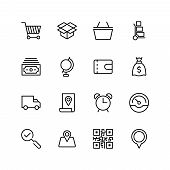 Electronic Commerce Flat Icon Set . Single High Quality Outline Symbol Of Info For Web Design Or Mob poster