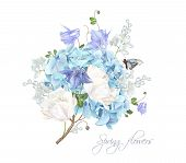 Vector Composition With Blue Hydrangea, Tulip Flowers And Butterfly On White Background. Floral Desi poster