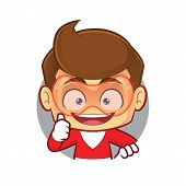 Clipart Picture Of A Superhero Cartoon Character With Circle Shape And Giving Thumbs Up poster