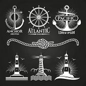 Vintage Marine Nautical Logos And Emblems With Lighthouses Anchors Rope. Eemblem And Badge, Vintage  poster