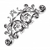Vintage Baroque Frame Scroll Ornament Engraving Border Floral Retro Pattern Antique Style Acanthus F poster