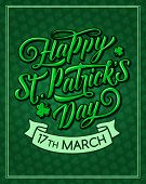 Happy St Patrick Day Greeting Card For Irish Traditional Feast Holiday. Vector Shamrock Clover Leaf  poster