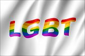Lgbt Rainbow Waving Flag Color Clipart. Symbol Movement Of Gays, Lesbians And So On. Vector Relistic poster