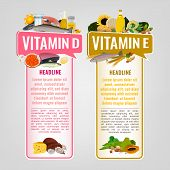 Vitamin E And Vitamin D Banners With Place For Text. Vertical Vector Illustrations With Caption Lett poster