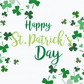 Vector Abstract Logo For St. Patricks Day On Shamrock Background poster