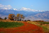 pic of rocky-mountains  - Colorful scenic view of the snow capped continental divide on the front range of the Rocky Mountains - JPG