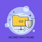Yellow Folder And Protective Shield Symbols. Concept Of Secured Digital Data Storage, Safety And Pro poster