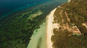 Aerial View Of Tropical Beach On The Island Bohol, Philippines. Beautiful Tropical Island With Sand  poster