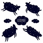 Good Night Card With The Cute Sheep Jumping Over. Sweet Dreams Background. Good Night Text In Cloud. poster