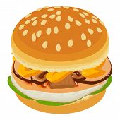 Tasty Burger Icon. Isometric Illustration Of Tasty Burger Vector Icon For Web poster