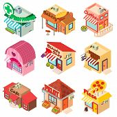 Store Facade Front Shop Icons Set. Isometric Illustration Of 9 Store Facade Front Shop Vector Icons  poster