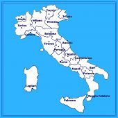 Map Of Italy. Bright Illustration With Map. Illustration With Blue Background. Italy Map With Italia poster