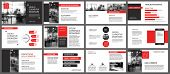 Red Presentation Templates For Slide Show Background. Infographic Elements For Business Annual Repor poster